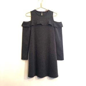 [LOFT] Gray Long Sleeve Ruffle Dress - Size Small